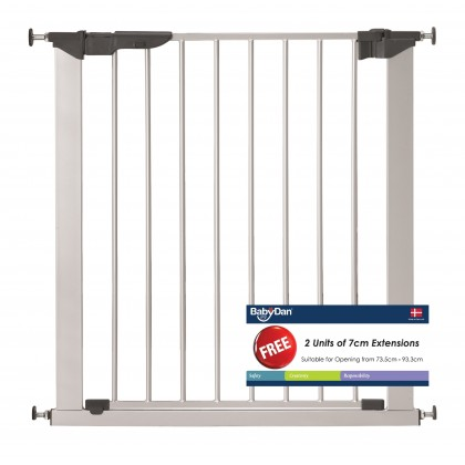 BabyDan Premier Pressure Indicator Gate (Silver) with 2 Extensions