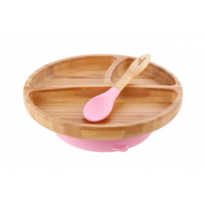 AVANCHY Bamboo Suction Tolder Plate + Spoon