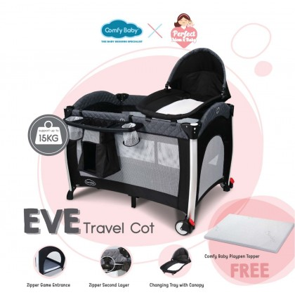 Comfy Baby Travel Cot_Eve (FOC Topper)