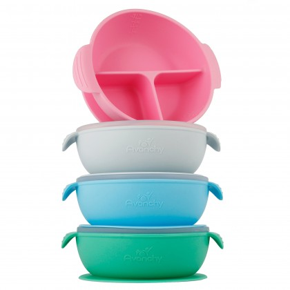 Avanchy Silicone Suction Divided Baby Bowl + Lid