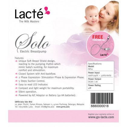 Lacte Solo Electric Breastpump / Package