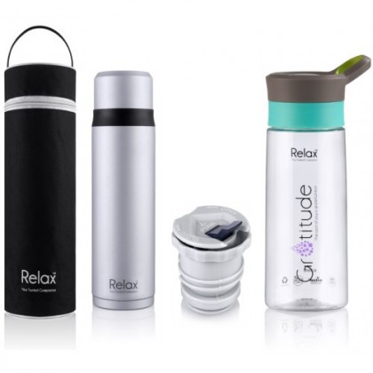 RELAX 750ml STAINLESS STEEL THERMAL FLASK WITH FREE POUCH / GIFT SET