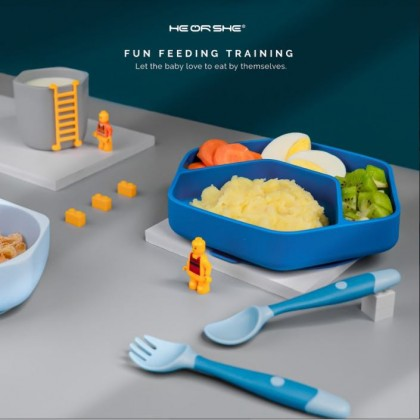 HE OR SHE Toddler Feeding Set (FREE Spoon & Fork Set)