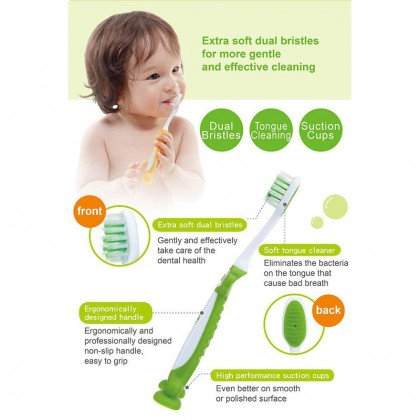 SIMBA Baby Toothbrush with Suction Pades (Orange / Green)