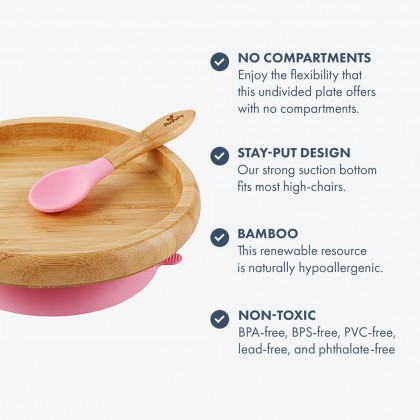 AVANCHY Bamboo Suction Classic Plate + Spoon