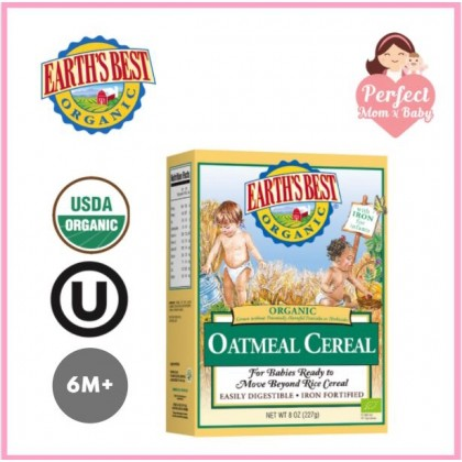 EARTH'S BEST Organic Whole Grain Oatmeal Cereal 227g (6M+)